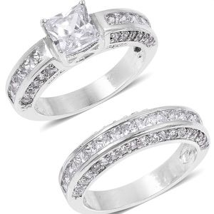Square cut CZ ring set